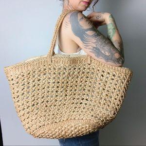 VINTAGE Large Straw Market Bag